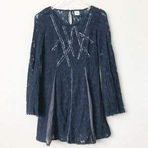 Free People Navy Lace Overlay Dress in Sz S